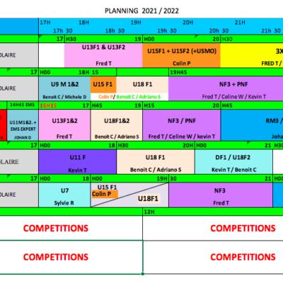 PLANNING ENTRAINEMENTS 2021/2022
